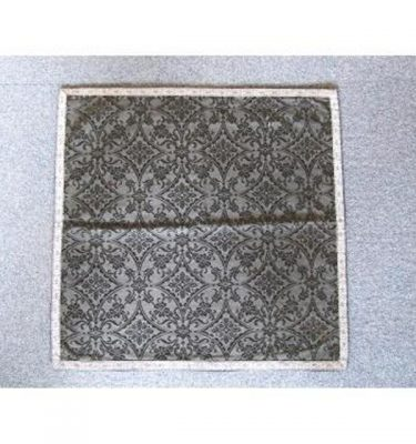 Black Damask Runner Silver Braid Edge 525Mm X 525Mm
