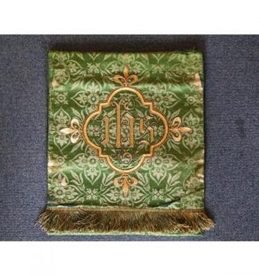 Green Damask Runner Green Fringe EdgeGold Embroided Jhs 385Mm X 485Mm