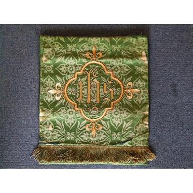 Green Damask Runner Green Fringe EdgeGold Embroided Jhs 385Mm X 485Mm