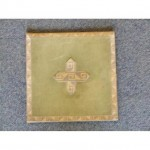 Green Board With Hard Back Stands Upright Gold Braid And Cross 220Mm X 220Mm