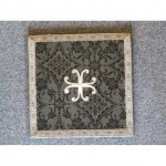 Black Damask Board Hard Back Stands Upright Silver Braid Edge And Cross 220Mm