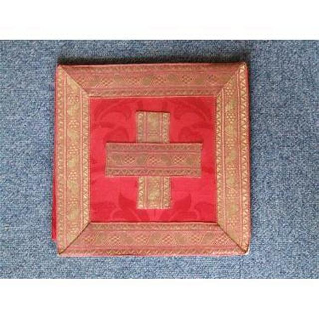 Red Damask Board With Hard BackStands Upright Gold Braid Edge And Cross 230Mm X
