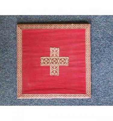 Red Damask Board With Hard BackStands Upright Gold Braid Edge And Cross