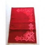 Red Velvet Large Table Or Altar Cloth Lovely Embossed Corners  1525Mm X 1753Mm