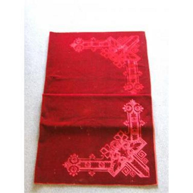 Red Velvet Large Table Or Altar Cloth Lovely Embossed Corners  1525Mm X 1753Mm