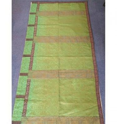 Green Damask RunnerVery Long Gilt Braid Edge 1000Mm X 1440Mm