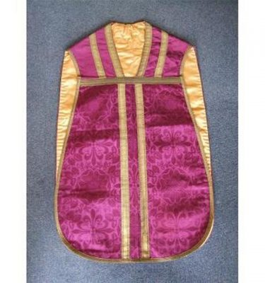 Purple Damask And Gold Braid Priest Tunic