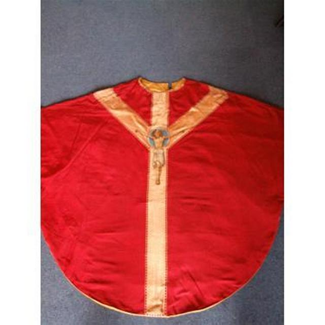 Red Fabric And Gold Braid Embroidered Image Of Jesus Priest Tunic