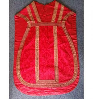 Red Damask And Gold Braid Priest Tunic