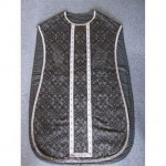 Black Damask And Silver Braid Priest Tunic