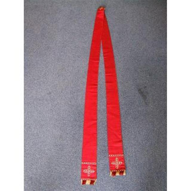 Red Fabric With Braid Cross Detail And Fringe Priest Neck Sash