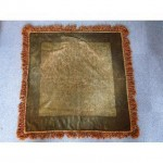 Green Chenille Tablecloth With Brown Chenille Fringe Edge 880Mm X 840Mm