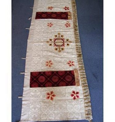 Cream Altar Cloth With Embroidered Red And Gold Flowers Red Velvet Panels 880Mm