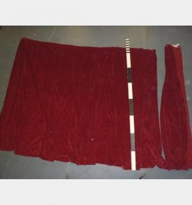 "10'6""W.O.Fx7'5""Drop Red Velvet Plain Standard Curtain Hook Tape"