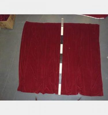 "8'With Fullnessx7'6"" Red Velvet Plain With Standard Curtain Hook Tape"
