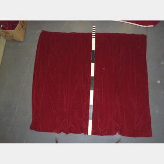 "8'With Fullnessx7'6"" Red Velvet Plain With Standard Curtain Hook Tape"