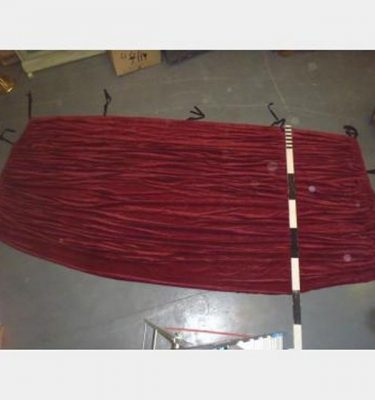"12'6""X5'Drop With Fullness Red Singlesided Velvet With Cloth Ties"