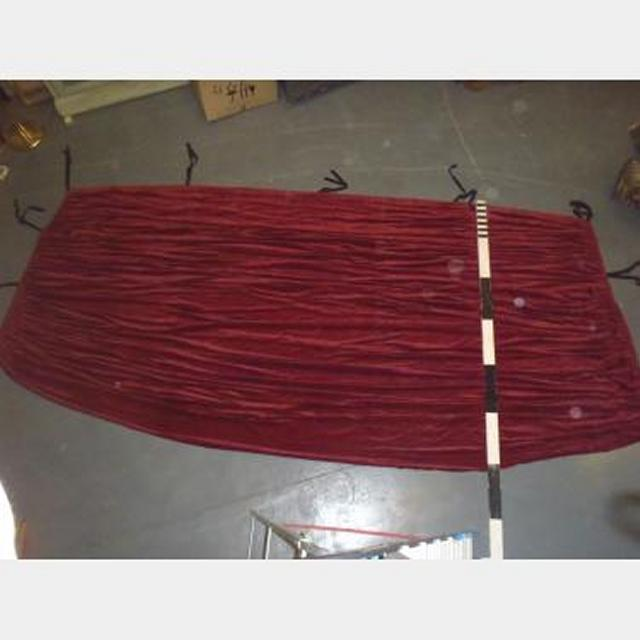 """12'6""""X5'Drop With Fullness Red Singlesided Velvet With Cloth Ties"""
