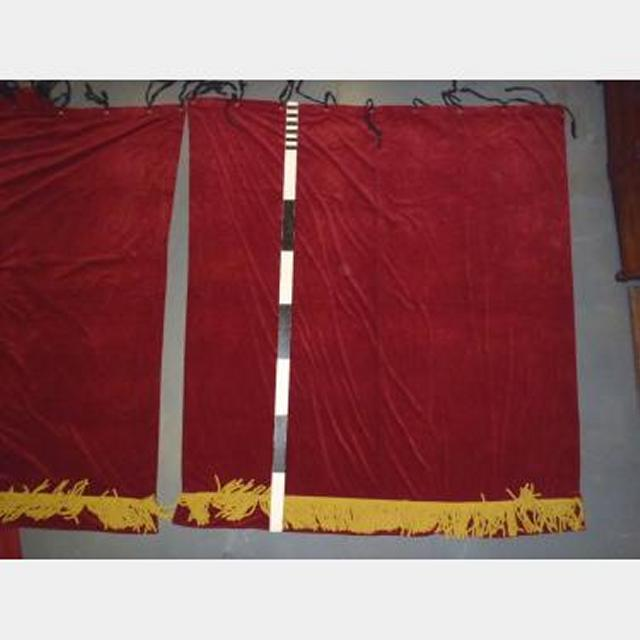 """7'4""""X8"""" Drop Red X3 Eyes+Ties Yellow/Gold Rope Fringe"""
