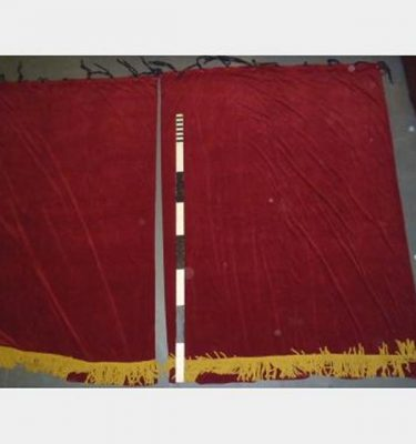 "7'4""X9'8"" Drop Pair Red Velvet Eyes+Ties Yellow/Gold Rope Fringe"