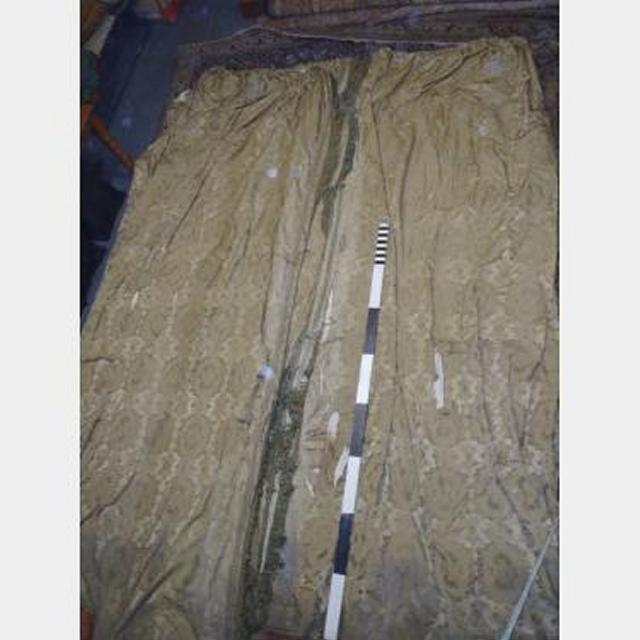 2700 X 4100Mm Drop Pair Gold Silk Damask Double Sided Fringed Distressec Scht