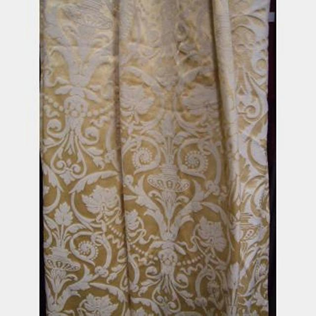 1200 Wof X 3200 Gold Baroque Drapes Lined Fringe Pencil Pleat Pair