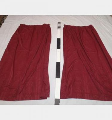700 Wf X 1700Mm Drop Burgandy Print Curtain Pair  Scht Gold Rings
