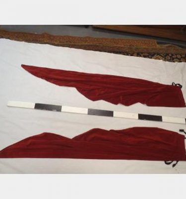300 With Fullness X 2100Mm Drop Red Velvet Tails With Ties Pair