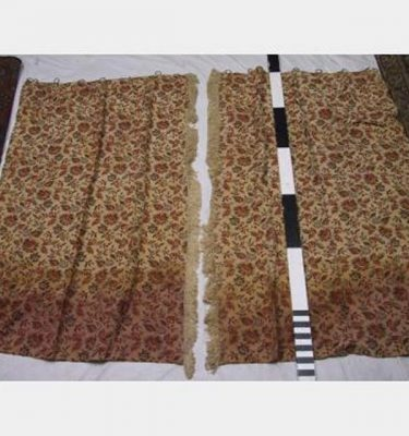 1100 Wof X 1750Mm Drop Floral Pattern Wtih Centre Fringe Drape Pair Dirty Hem