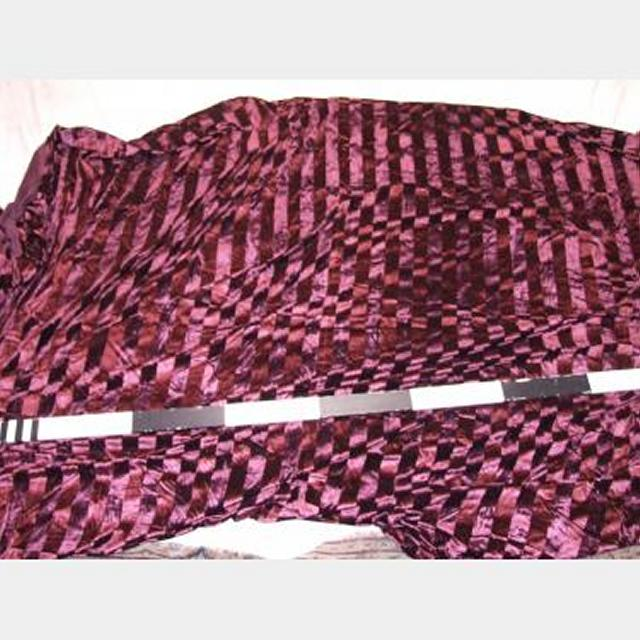 Velvet Striped Plum Fabric Piece Finished On One Side 7000X2600Mm
