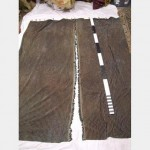 1300X2840Mm Drop Green Brown Striped Velour  Centre Fringe Gold Hooks Lined Pair