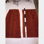 700 Wf X 2060Mm Drop Rust Coloured Velour Curtain Patterned Lined Scht Pair