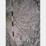 6700 Wof X 7020Mm Drop Silver Velour Drape With Ties Yellow Staining