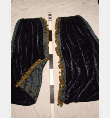 500 Wf X 1950Mm Drop X3 Blue Velour Drape Centre Fringing  Lined Gold Rings Pair