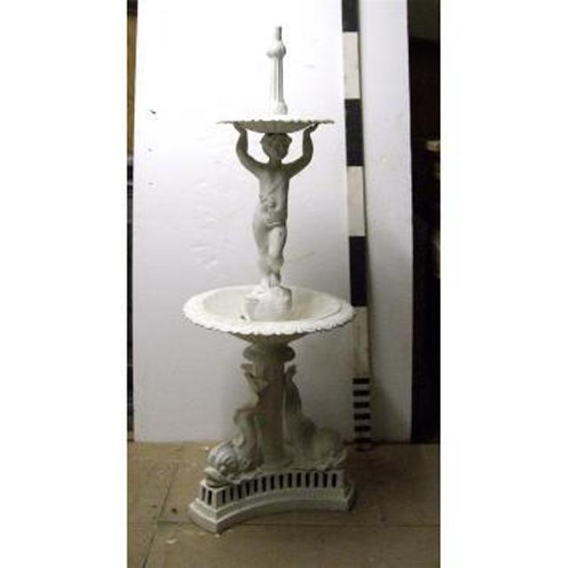 "Fountain2 Tier With CherubsCast Iron 68"""""""" X 24""""""""Dia"