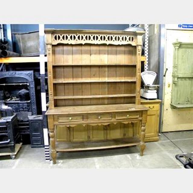 Dresser Pine Pierced Frieze 3 Shelves 2 Sections 1700W X 2240H X500D