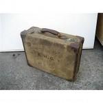 Period Leather Brass Corner Suitcase 'E.H.G'