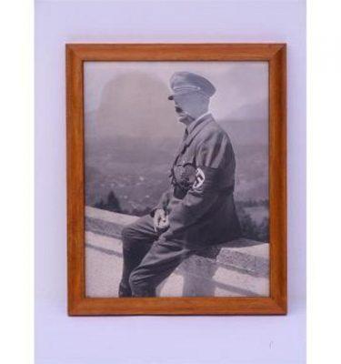 Hitler On Balcony At Berghof 1938 Photob/W  Light Wood Frame 260X320