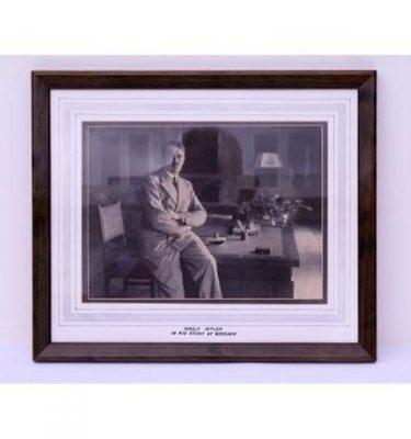 Hitler In Study At Berghof Photob/W  Wood Frame 460X390