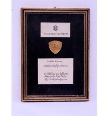 Swedish Award Plaque Cetificate Uni/ Kristiania 470X340