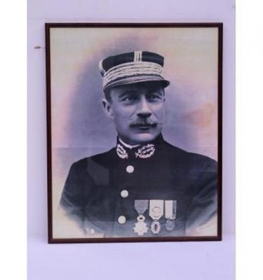 French Officer B/W Photo Wood Frame 510X410