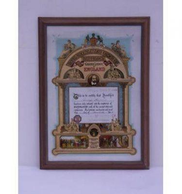 Masonic Certificate Colour Print Buffoles Wood Frame 475X660