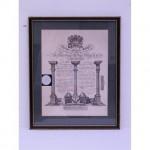 Masonic Certificate B/ W Grand Masters  Wood Frame  410X500