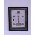 Masonic Certificate B/ W Grand Masters  Wood Frame  430X530