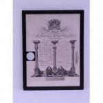 Masonic Certificate B/ W Grand Masters  Wood Frame  330X430