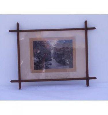 B/W Photo River Pass Wood Cross Frame