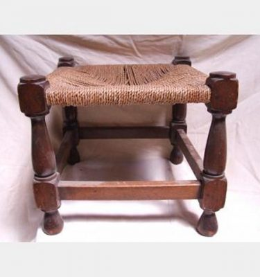 Wooden Stool With Woven Seat 360X400X400