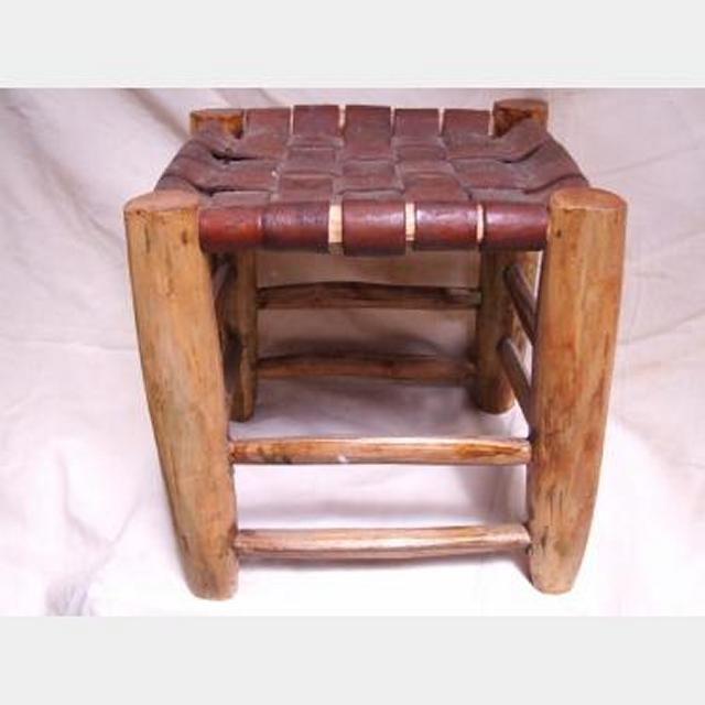 Leather Seat Wooden Stool 320X310X310