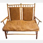 Bamboo Look 2 Seater High Back Chair 1240X570X1250Mm