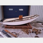 Sailing Dingy 8' Long Plus Red Sail And Single Mast